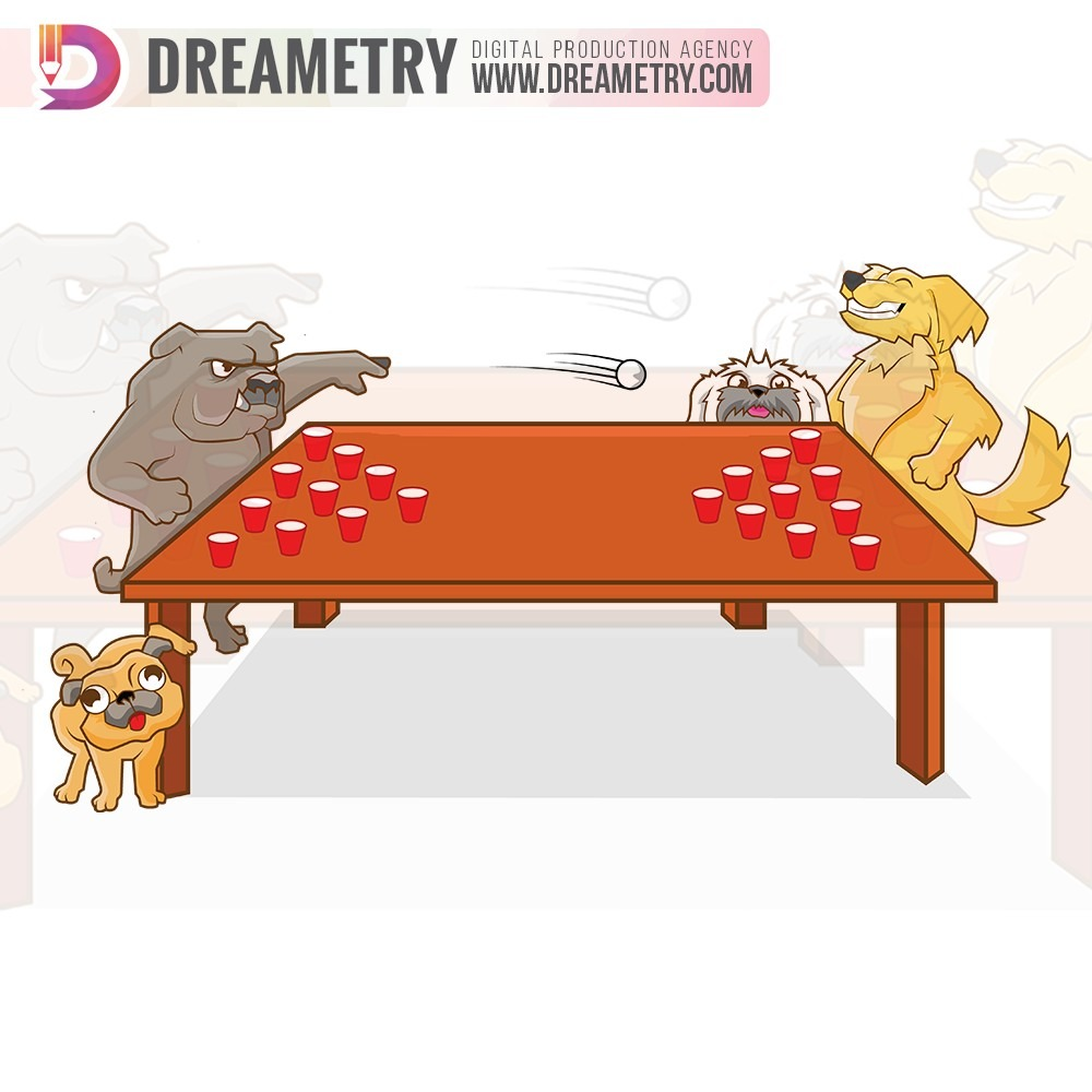 Dogs Playing Pingpong Illustration by Dreametry