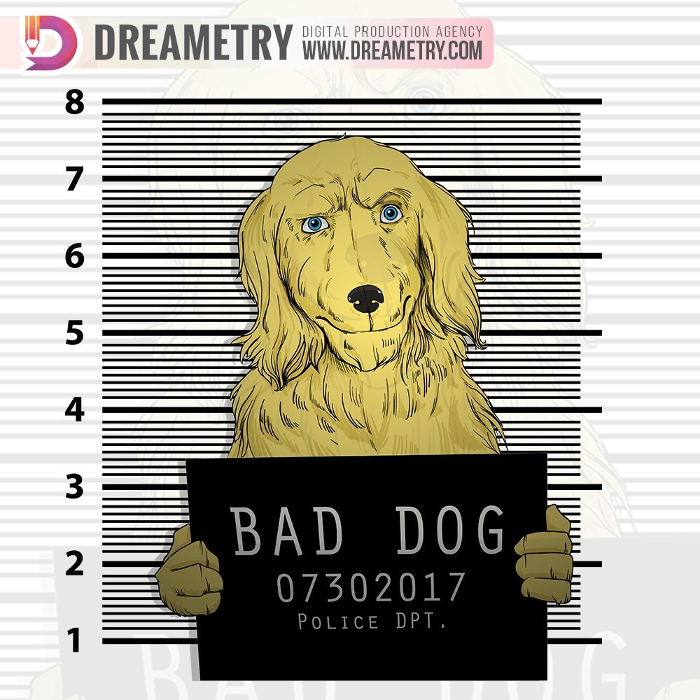 Golden-retriever Bad Dog at Police Department Dreametry Illustration