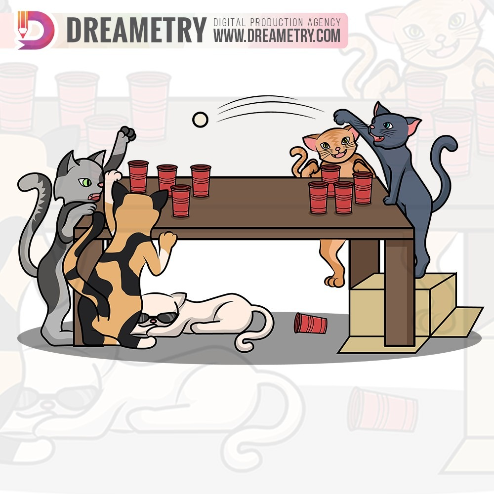 Cats playing beer pong illustration